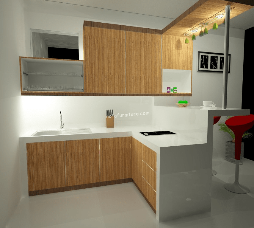 Kitchen set murah dengan mini bar sederhana for Ukuran rak piring kitchen set
