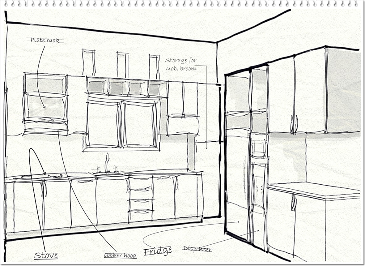 sketsa kitchen set menggunakan pensil Nota Furniture