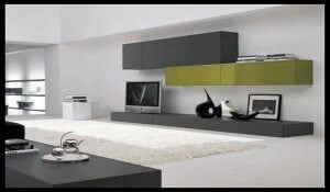 rak tv sederhana warna terang